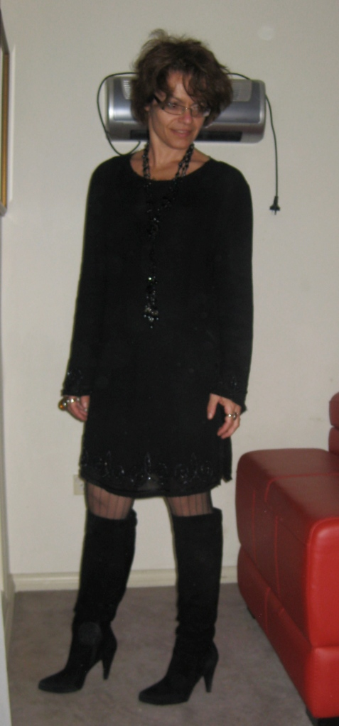 Beaded Tunic: Jaeger from some DFO sometime in the 90s| Boots: Suede Knee Highs from Daniel Claude for Zomp Australia| Black leather mini (unseen) from thrift| Gate Leg Stockings - Leg Avenue
