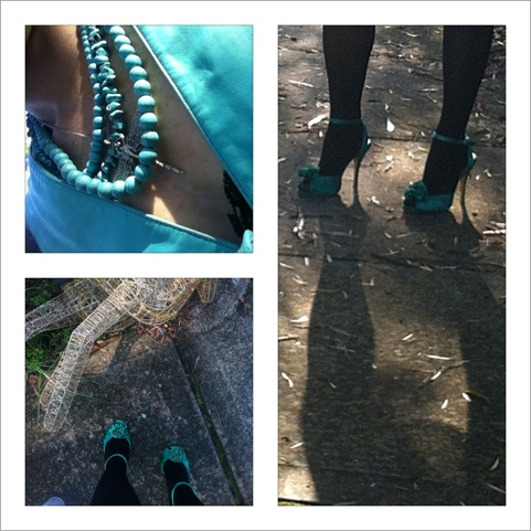 Not sure that the green heels worked with the turquoise but no one looked at